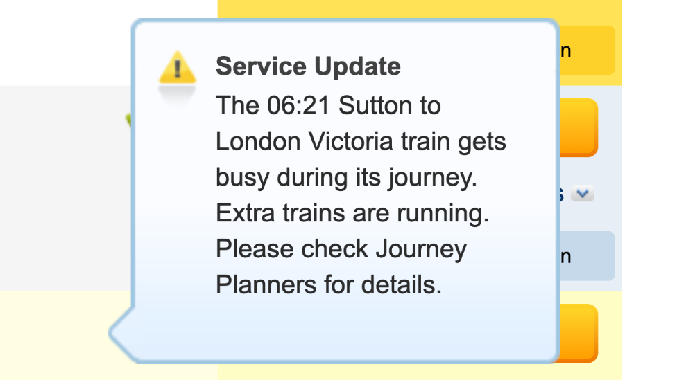 A National Rail alert, explaining that a train is busy
