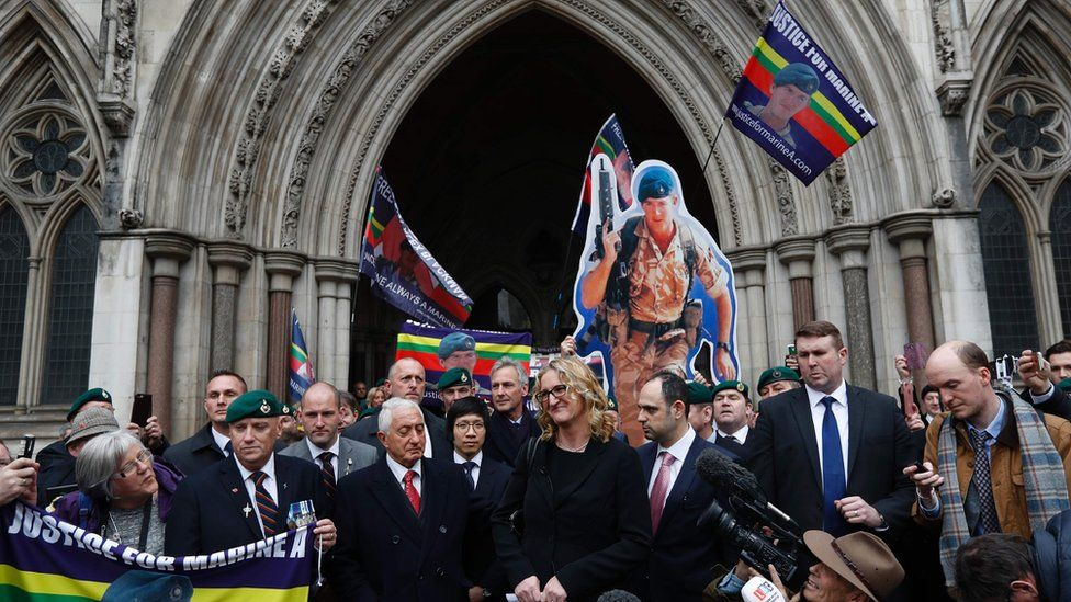 Claire Blackman and supporters outside the Royal Courts of Justice on 24 March 2017