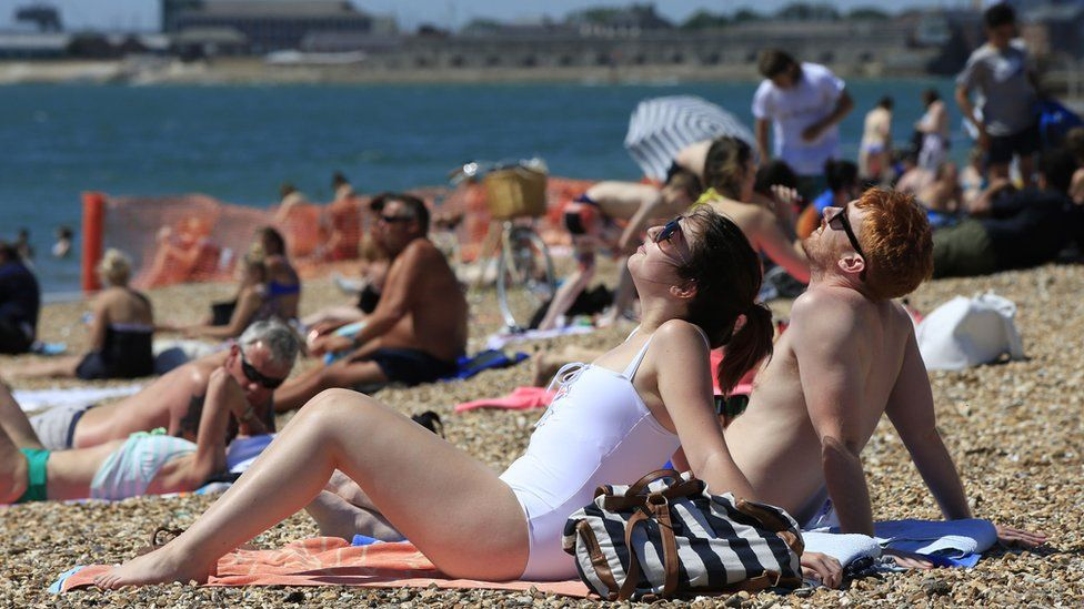 Crowds basked on Southsea beach in Portsmouth