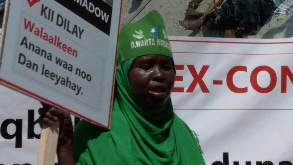A demonstrator in Somalia's capital Mogadishu - 02 January 2020
