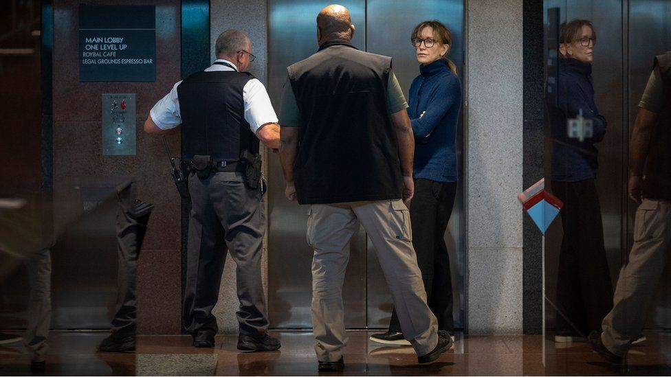 Actress Felicity Huffman inside the Edward R Roybal Federal Building and US Courthouse in Los Angeles on 13 March