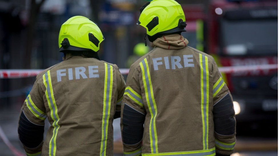 Firefighters attend a fire in premises on the Walworth Road