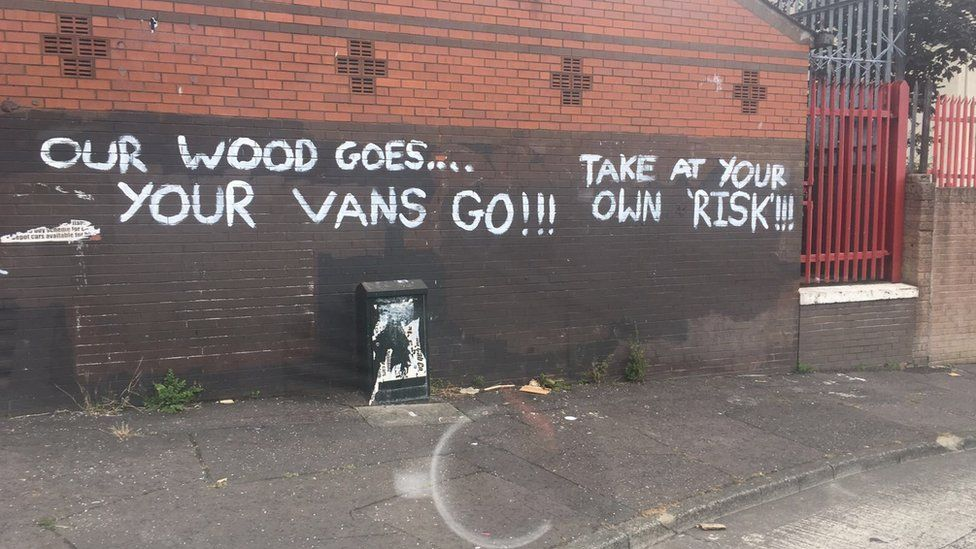 Graffiti threatening those who remove wood intended for bonfires