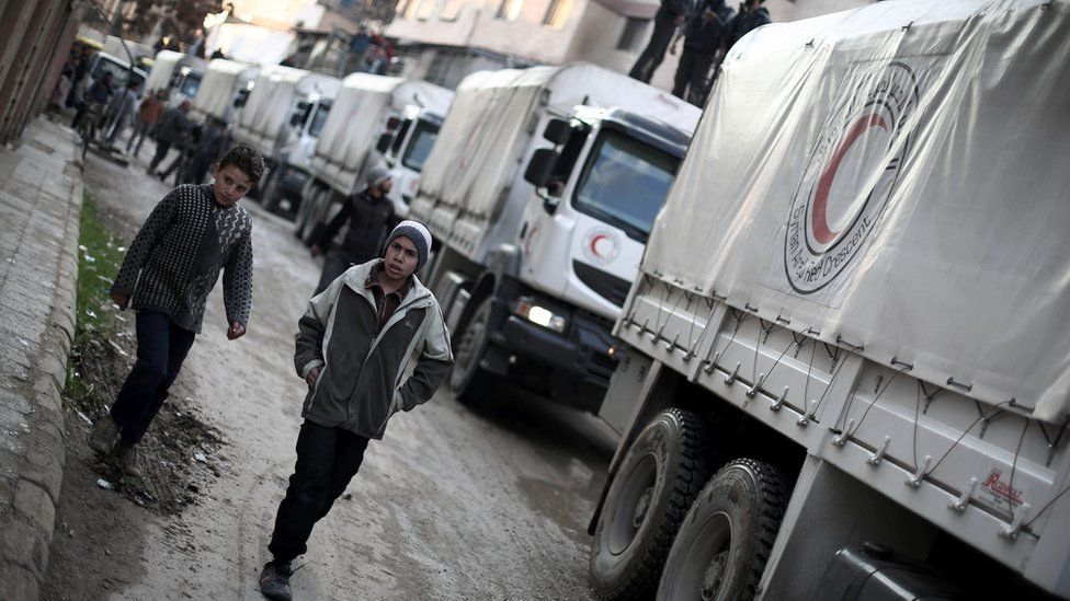 UN aid delivered by Red Crescent in rebel-held Eastern Ghouta area of Damascus on February 23, 2016