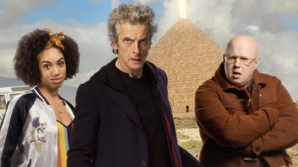 Pearl Mackie, Peter Capaldi and Matt Lucas in Doctor Who