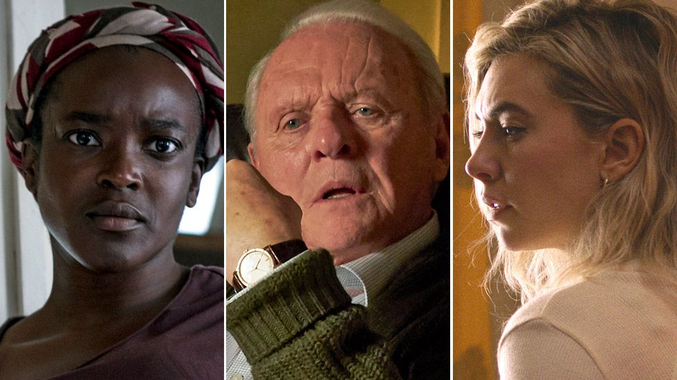 Left-right: Wunmi Mosaku in His House, Sir Anthony Hopkins in The Father and Vanessa Kirby in Pieces of a Woman
