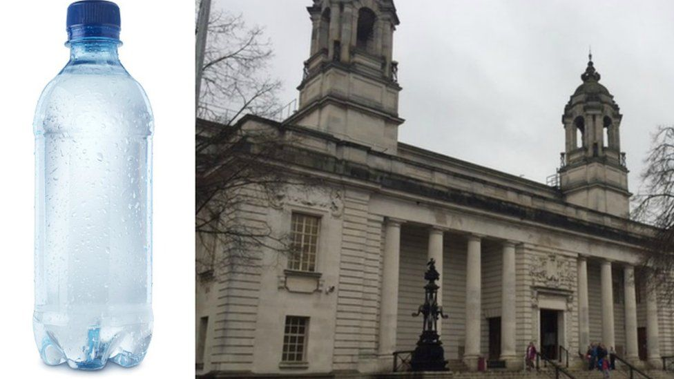 Water bottle and Cardiff Crown Court