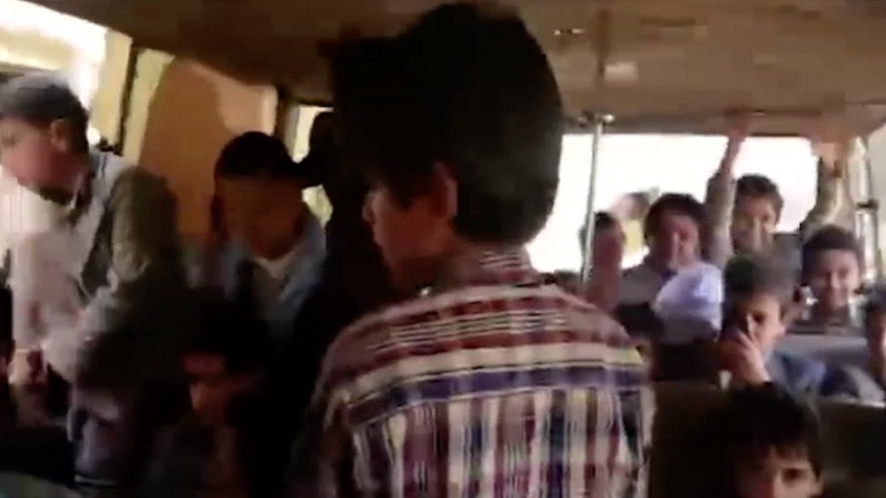 Video released by Houthis showing schoolboys on bus about an hour before it was bombed by the Saudi-led coalition in Dahyan, Yemen (11 August 2018)
