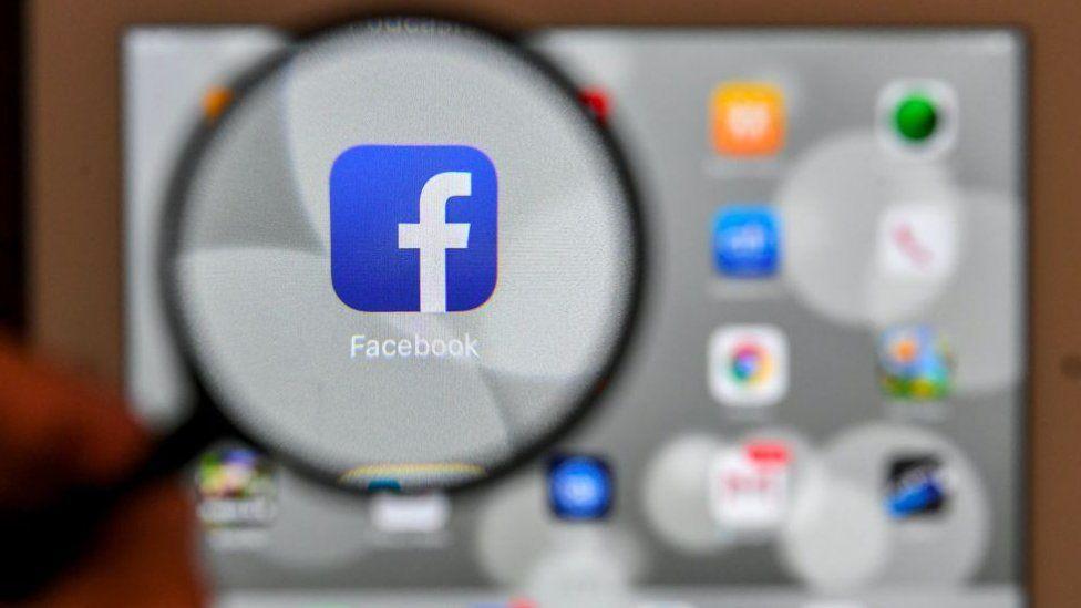 Facebook app on a screen