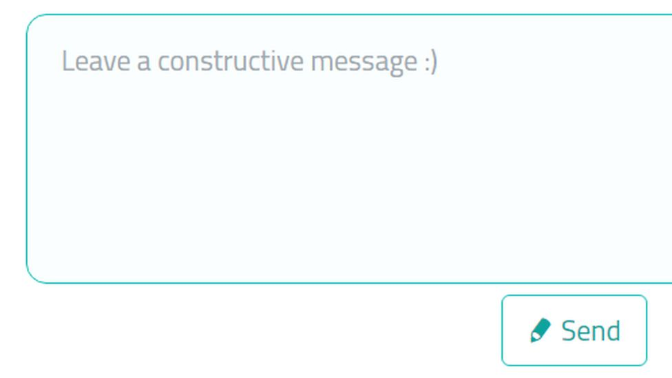 Text box which says 'Leave a constructive message :)'