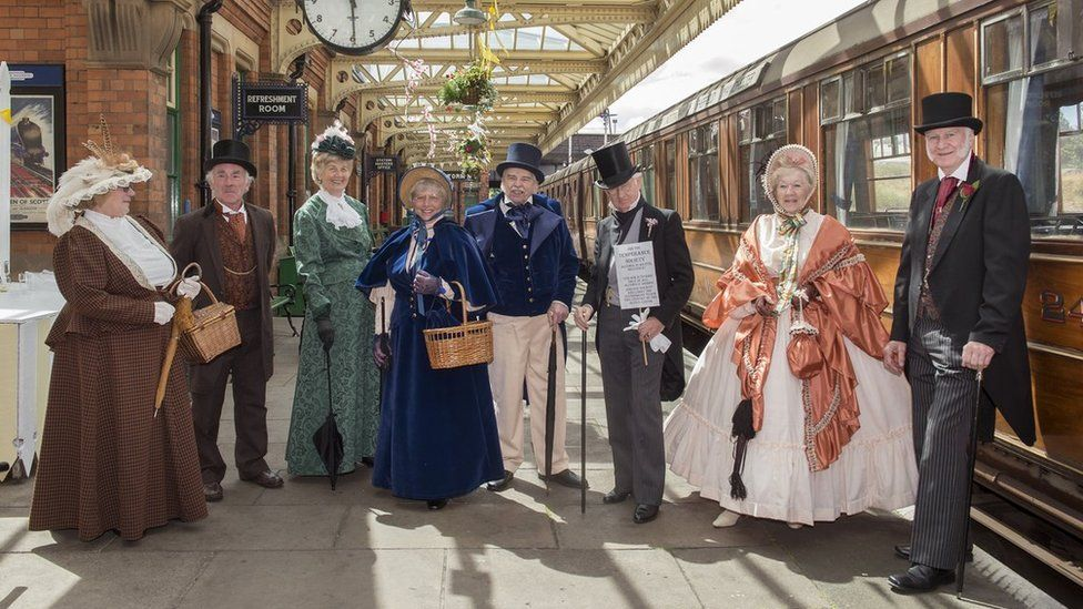 Re-enactors at Leicester rail station