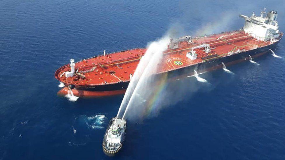 Damaged tanker in Gulf