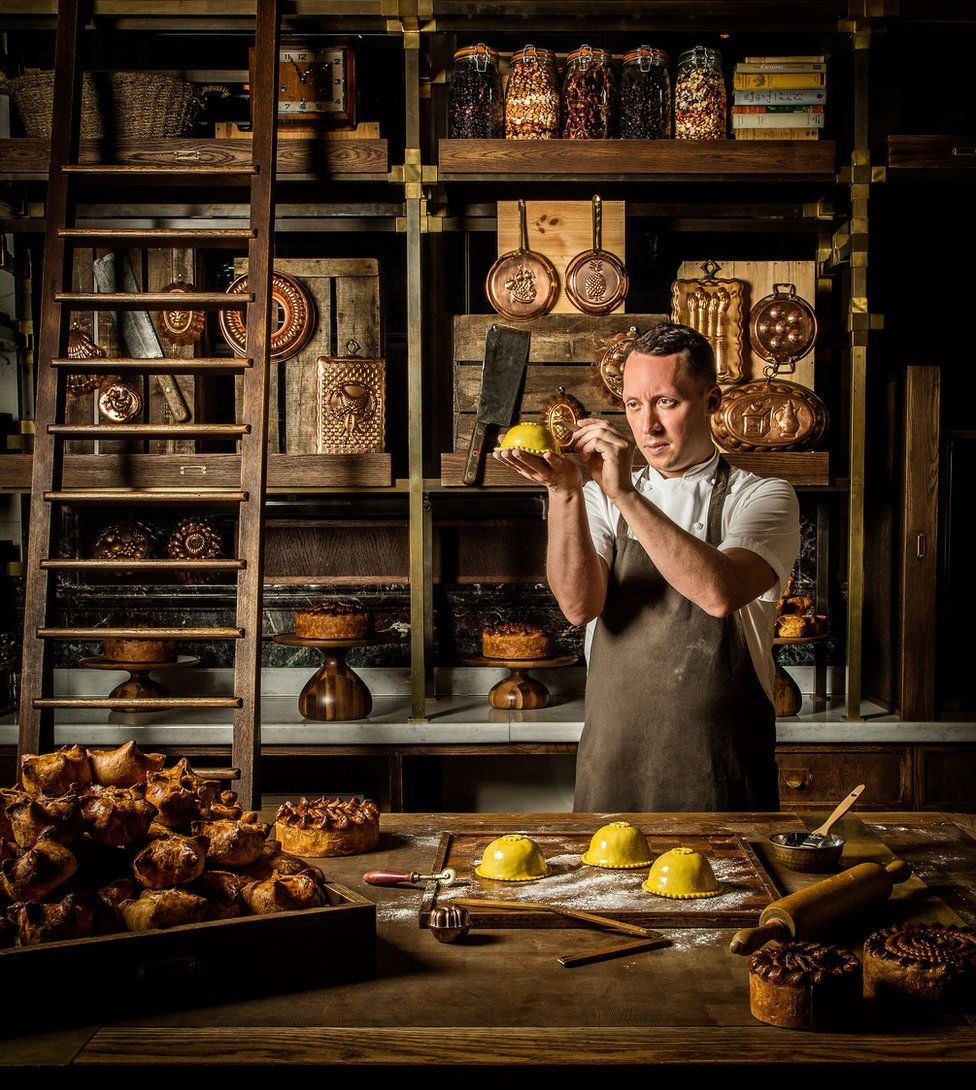 Chef Calum Franklin creating pies in his pie room