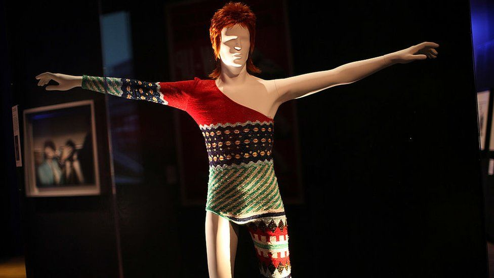 A costume designed by Japanese designer Kansai Yamamoto for David Bowie's Ziggy Stardust character