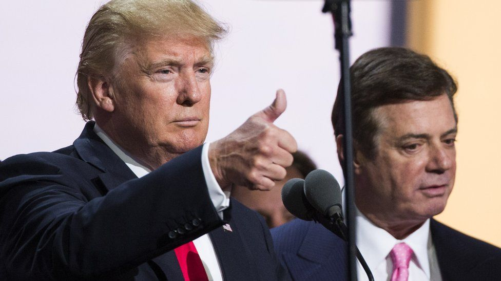 Donald Trump with Paul Manafort at the Republican Convention in July 2016