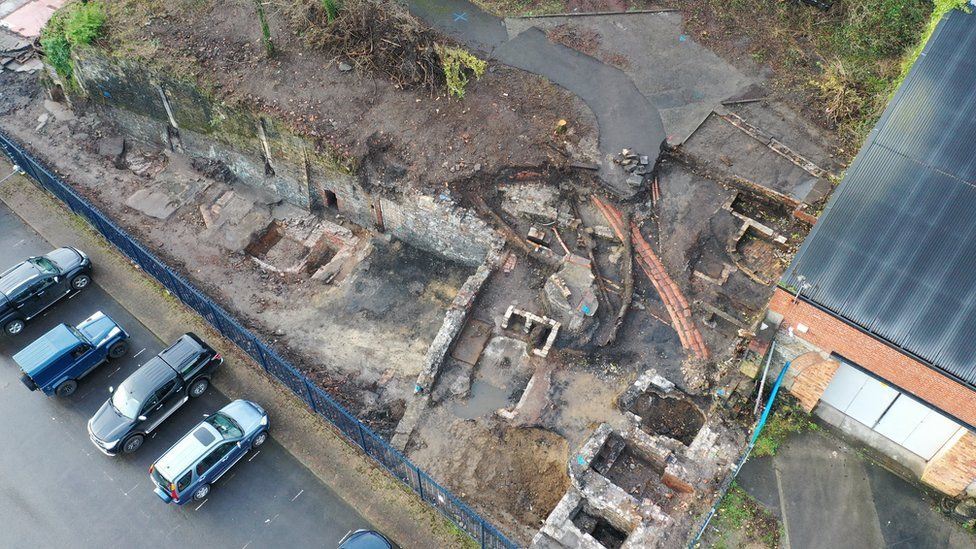 The remains of an 1840s cast house and 1828 rolling mill foundations