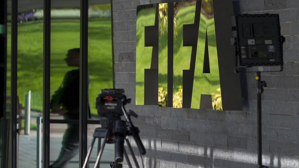 Press outside Fifa offices, Zurich. 25 Sept 2015