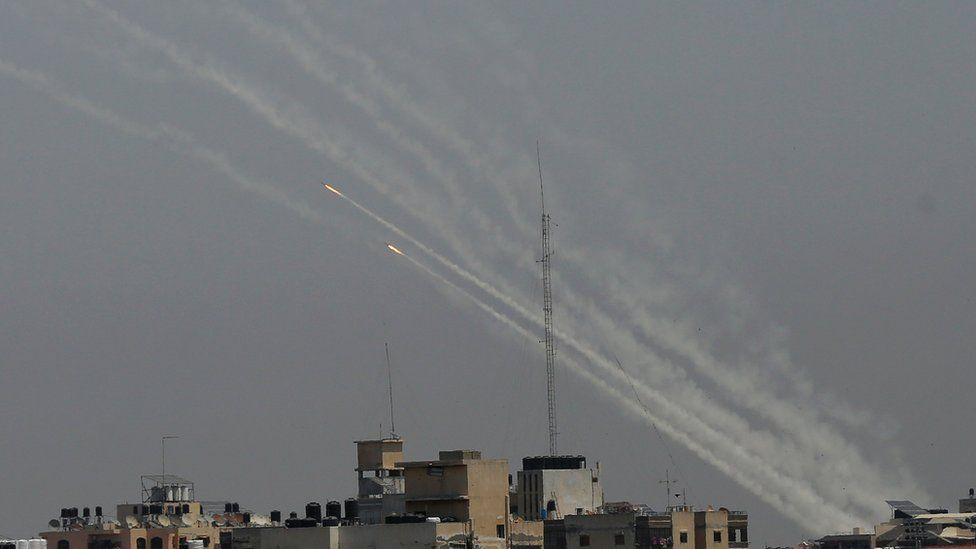 Rockets firing into air from Gaza apartments