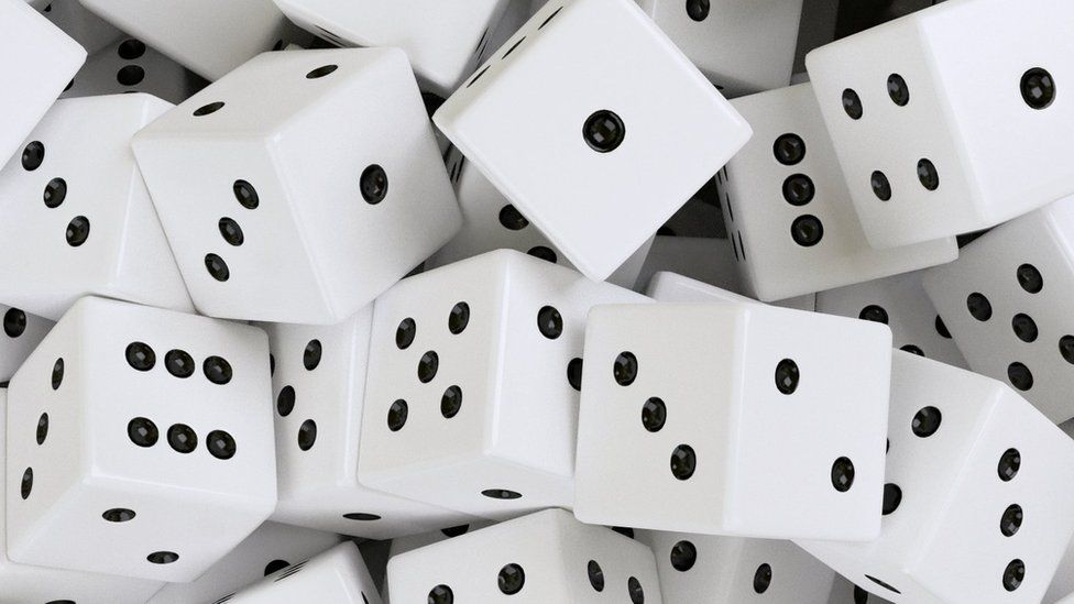 Dice in a pile