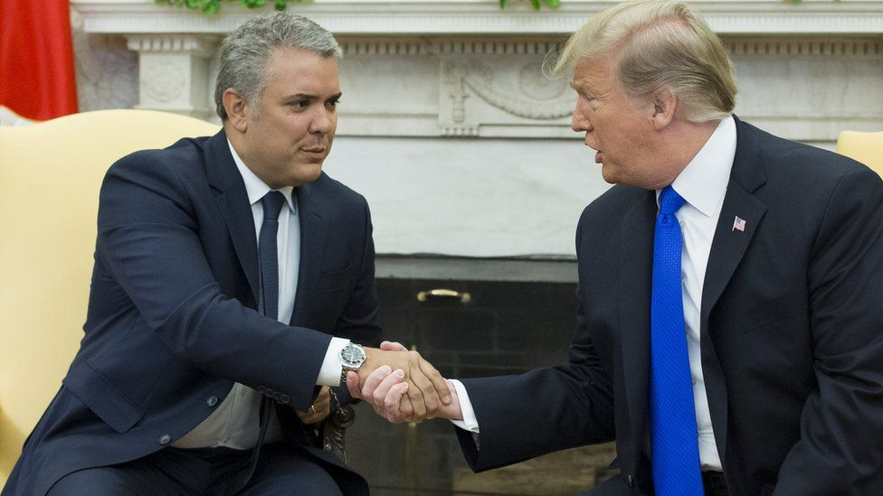 U.S. President Donald Trump and President of the Republic of Colombia Ivan Duque Marquez address the press in the Oval Office of the White House on March 2, 2020 in Washington, DC