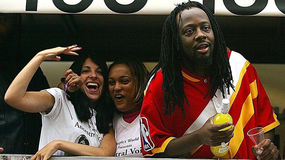 Wyclef Jean on float in 2003