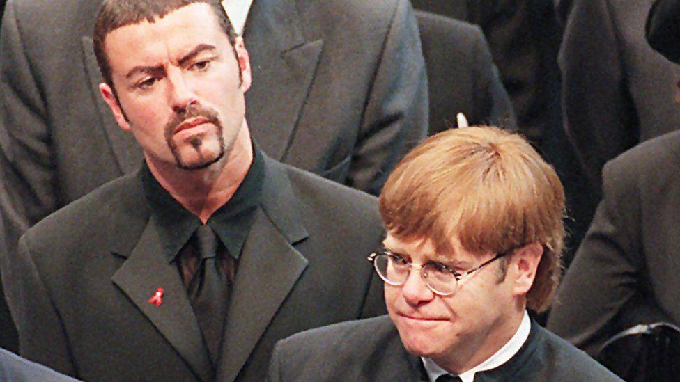 George Michael and Elton John at Diana, Princess of Wales' funeral