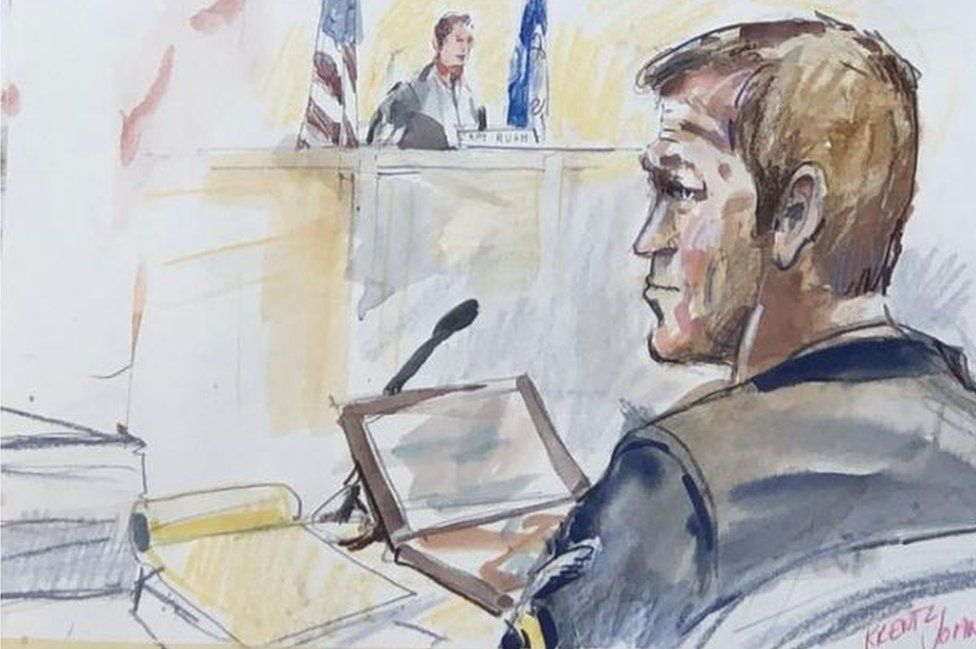 Chief Gallagher in a court sketch