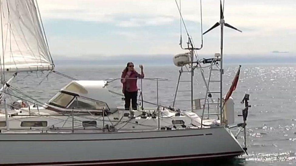 Jeanne Socrates on her 38ft boat Nereida