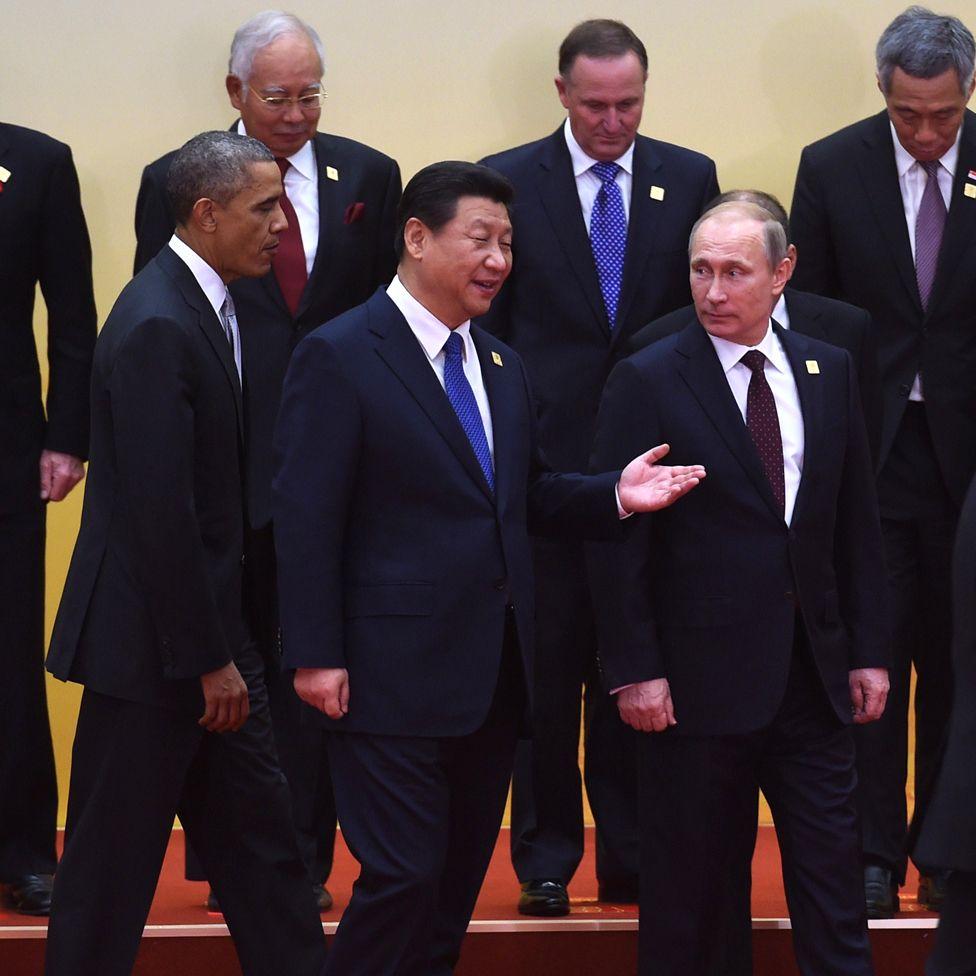 Barrack Obama, Xi Jinping and Vladimir Putin