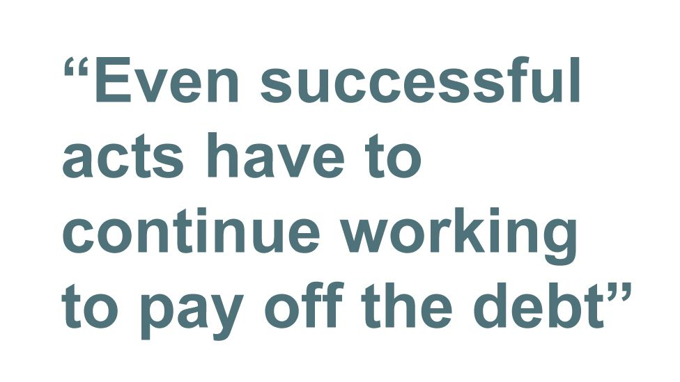 Quotebox: Even successful acts have to continue working to pay off the debt