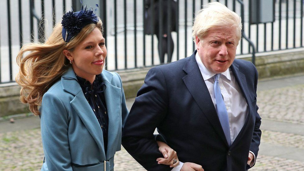 Prime Minister Boris Johnson and his fiancee Carrie Symonds attended the service