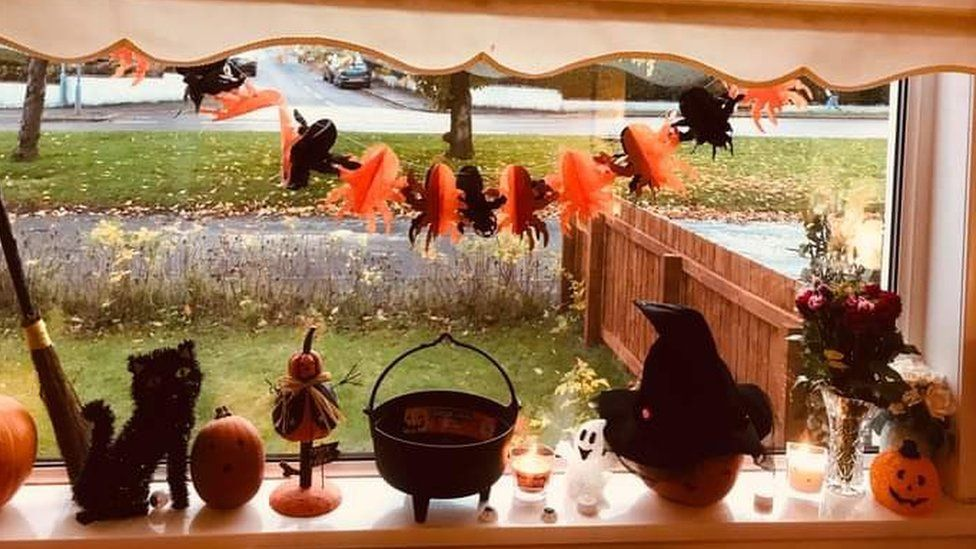 Halloween decorations on a window