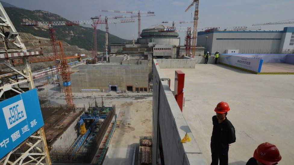 The Taishan nuclear power station under construction outside the city of Taishan in Guangdong province