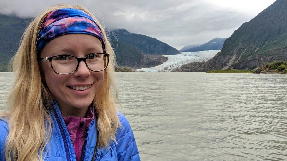 Celeste Labedz in front of a glacier