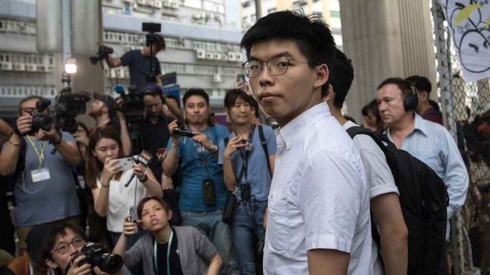 Hong Kong activist Joshua Wong leaves the Lai Chi Kok Correctional Institute