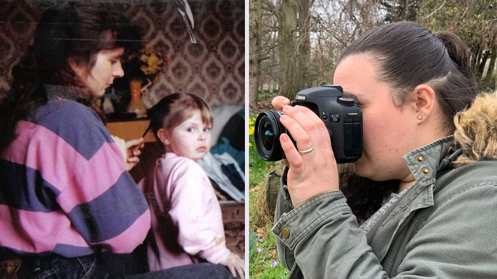 Rhiannon with her mother (left) and using her camera (right)