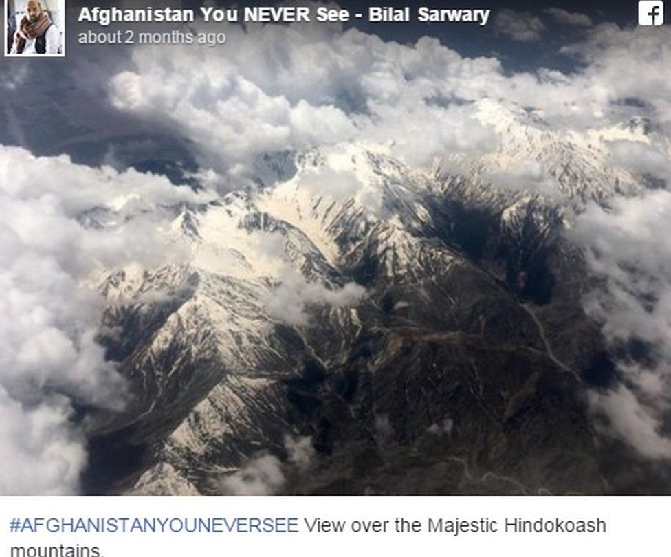 """Facebook post showing aerial view of mountains and text: """"View over the Majestic Hindokoash mountains."""""""