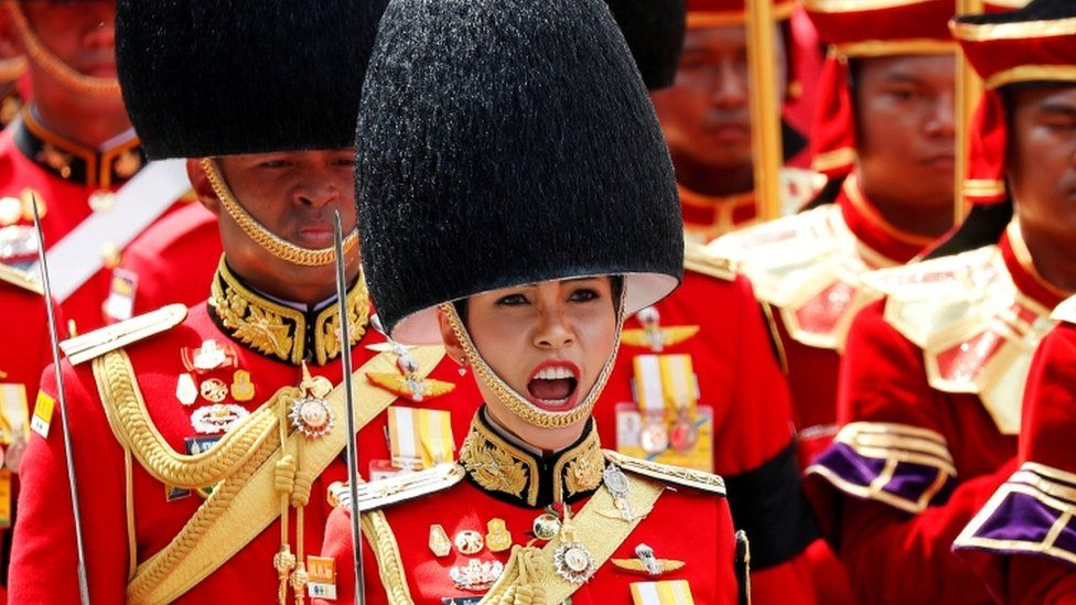 Sineenat Wongvajirapakdi pictured taking part in the Royal Cremation ceremony of Thailand's late King Bhumibol Adulyadej