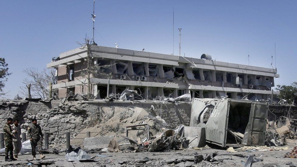 The blast was close to the German embassy, which suffered severe damage