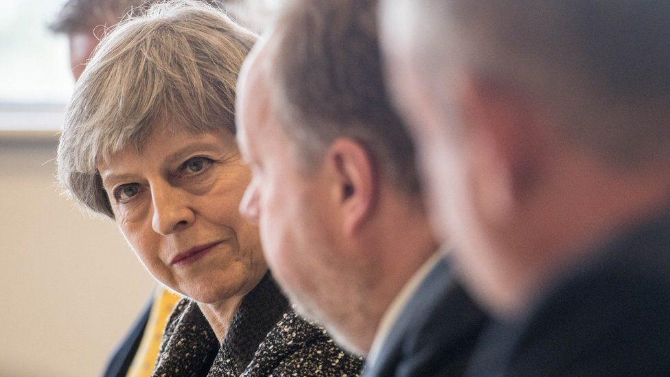 Theresa May at round table event in south Wales