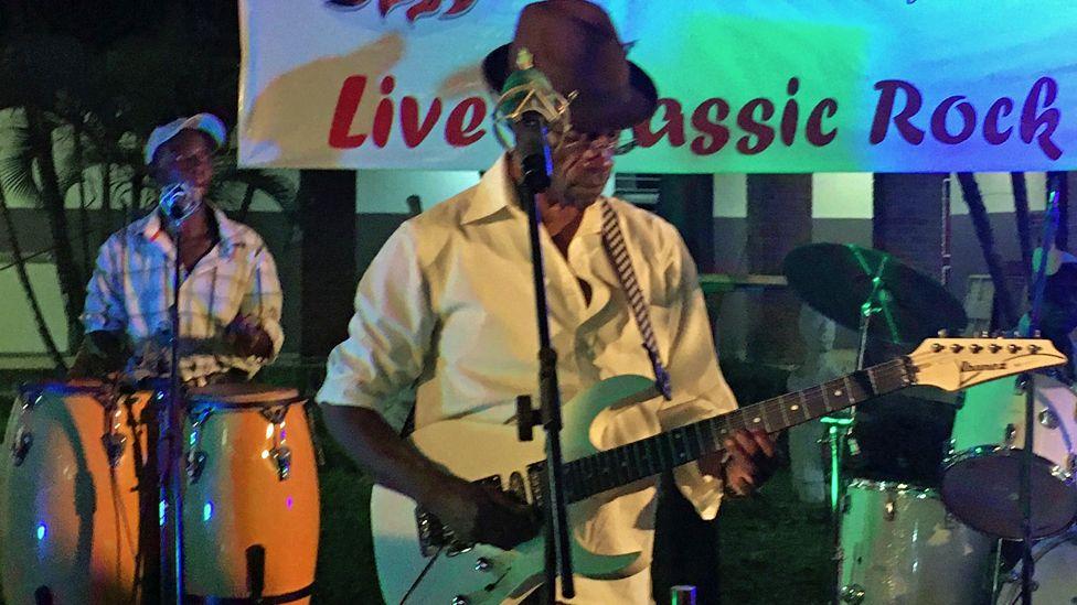Members of the Albatross Muf Rockers playing in Zambia