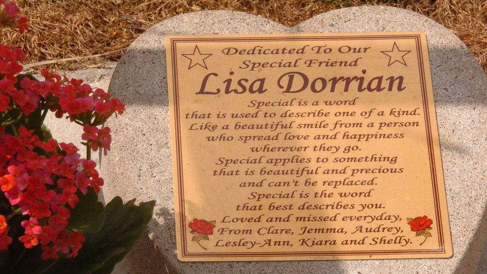 The memorial for missing Bangor girl Lisa Dorrian in the grounds of Bangor Council offices today