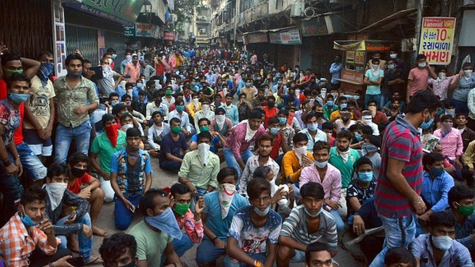 Textile workers protest in Surat city on 14th April