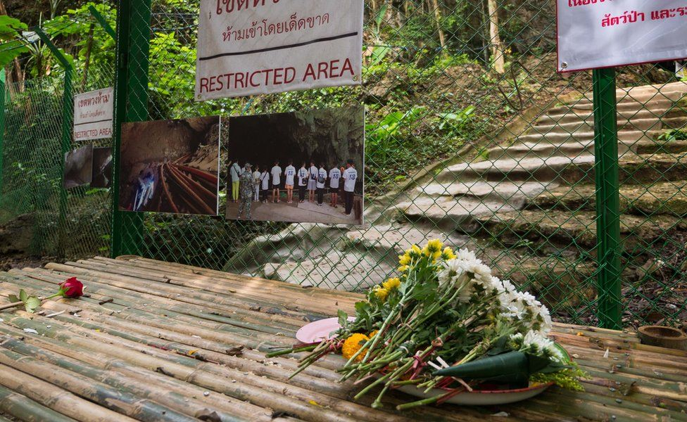 The sealed-off entrance to the Tham Luang caves