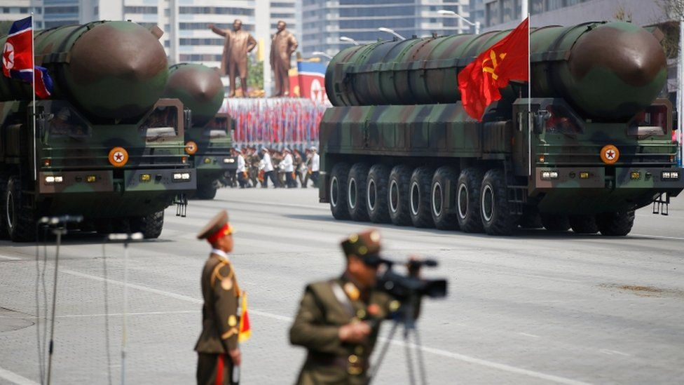 What appeared to be new intercontinental ballistic missiles were paraded on Saturday