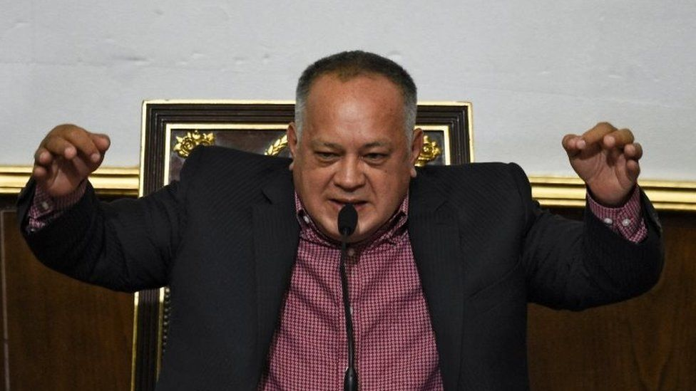 The president of the Venezuelan National Constituent Assembly Diosdado Cabello speaks during a session in Caracas on April 2, 2019.