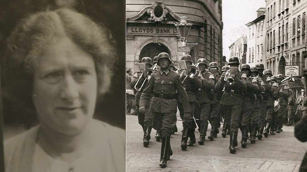 Miriam Jay's picture from her occupation id and a German band marches through Guernsey's St Peter Port High Street