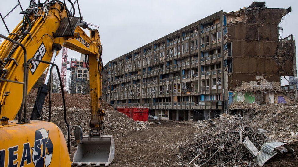 Demolition of Robin Hood Gardens in east London