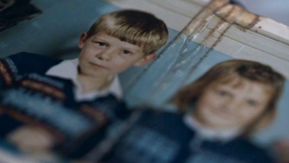 Michael Stone a child alongside sister Barbara
