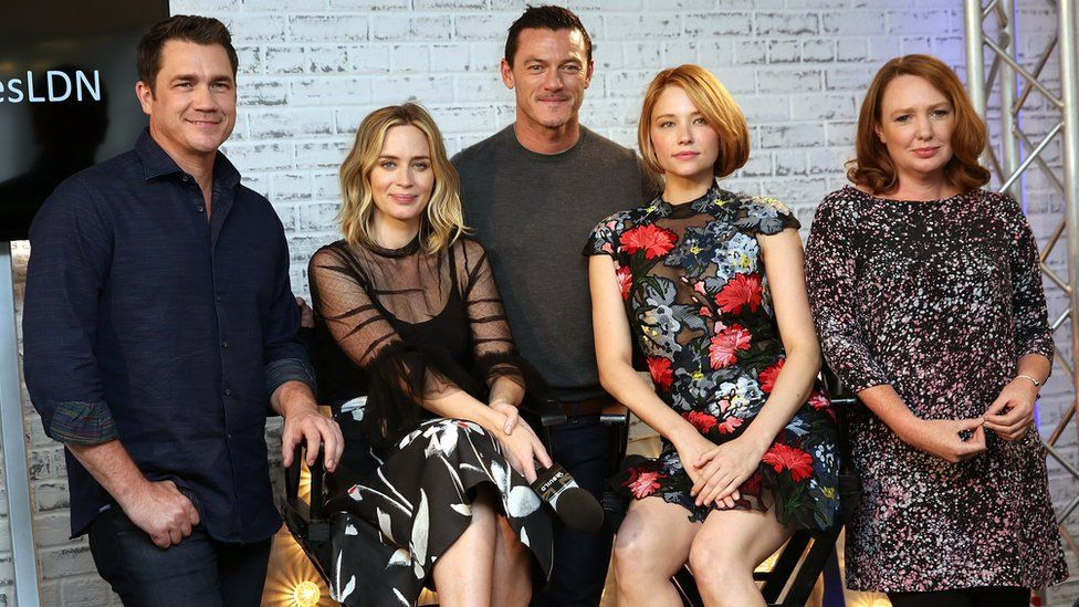 The cast of The Girl on the Train with Paula Hawkins